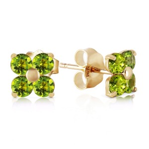 1.15 CTW 14K Solid Gold Epiphany Peridot Earrings