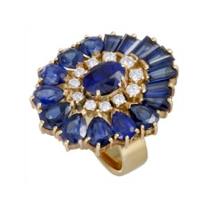 Mikimoto 18K Yellow Gold 8.19ctw Sapphire and 0.36ctw Diamond Oval Ring Size 4