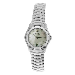 New Ladies Ebel 9157F11 Quartz Steel MOP Diamond 24MM  $2420 Watch