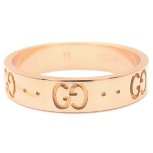Authentic GUCCI ICON Ring K18 PG 750 Rose Gold #11 US5.5 HK12 EU51 Used F/S