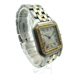 CARTIER PANTHER Panthere 18K Gold Stainless Steel Diamond 27mm Roman Dial Watch