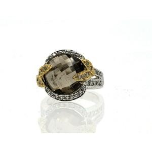 Fine Estate 14k White Yellow Gold Diamonds Smokey Topaz Ladies Ring Size 7
