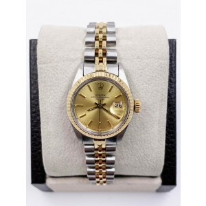 Rolex Ladies Date 6917 Two Tone 18K Bezel Champagne Dial Stainless