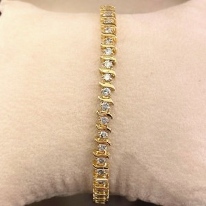 Round Brilliant Diamonds S Link  2.00 tcw 14K Yellow Gold Tennis Bracelet