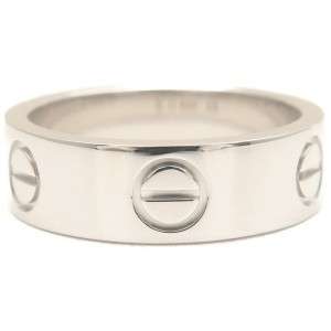 Authentic Cartier Love Ring 18K White Gold #50 US5.5 HK11.5-12 EU50.5 Used F/S