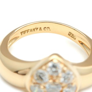 Authentic Tiffany&Co. Heart Pave 6P Diamond Ring K18YG US3.5-4 EU46.5 Used F/S