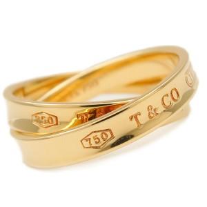 Authentic Tiffany&Co. Interlocking Circle Ring K18 Yellow Gold US6.5-7 Used F/S
