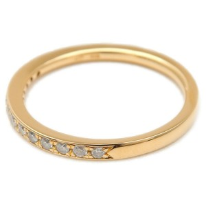 Authentic 4℃ Half Eternity Diamond Ring K18 Yellow Gold US4.5 EU48 Used F/S