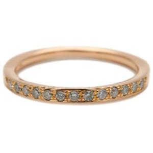 Authentic 4℃ Half Eternity Diamond Ring K18 Rose Gold US5-5.5 EU50 Used F/S