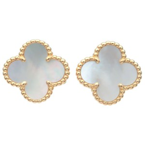 Authentic Van Cleef & Arpels Vintage Alhambra Earrings Yellow Gold Used F/S