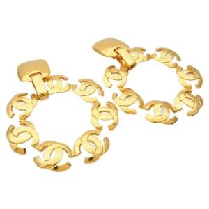 Chanel Coco Mark Vintage Swing Earrings Gold 97P