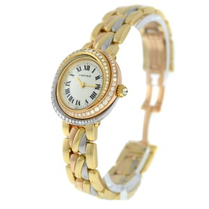 Ladies' Cartier Trinity 2357 18K Rose Yellow White Gold Diamond Quartz Watch