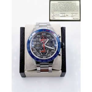 Tag Heuer CAR201G.BA0766 Carrera Skeleton Indy 500 Blue Bezel Stainless Card