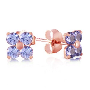 1.15 CTW 14K Solid Rose Gold Stud Earrings Natural Tanzanite