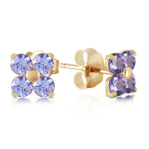 1.15 CTW 14K Solid Gold Stud Earrings Natural Tanzanite