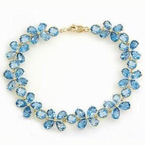 20.7 CTW 14K Solid Gold Bracelets Natural Blue Topaz