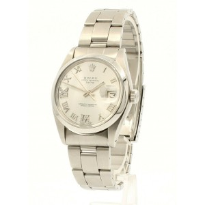 Mens ROLEX Oyster Perpetual Date 34mm Silver Roman Dial Diamond Stainless Watch