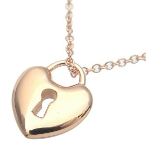 Authentic Tiffany&Co. Heart Lock Necklace K18PG Rose Gold Used F/S