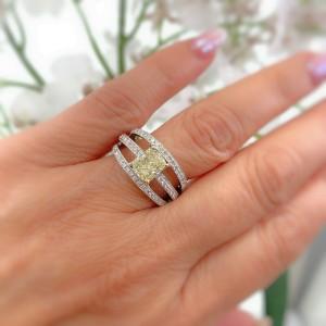 Fancy Yellow Cushion Diamond 3-Row 1.88 CTW Orianne Designer Platinum Ring