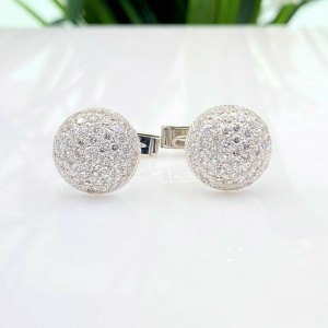 Pave Round Diamonds Domed Circle Cuff Links 2.50 tcw in 14kt White Gold