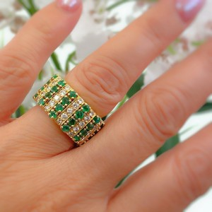 Emerald and Diamond Eternity Cocktail Ring 18K Yellow Gold
