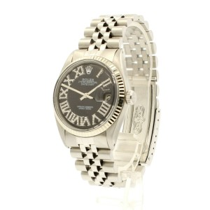 Mens ROLEX Oyster Perpetual Datejust 36mm Black Roman Dial Diamond Stainless