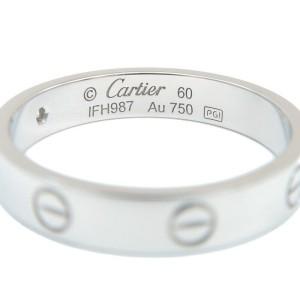 Authentic Cartier Mini Love Ring 1P Diamond K18 White Gold #60 US9-9.5 Used F/S