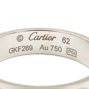 Authentic Cartier Love Ring K18 750 White Gold #62 US10-10.5 EU62.5-63 Used F/S
