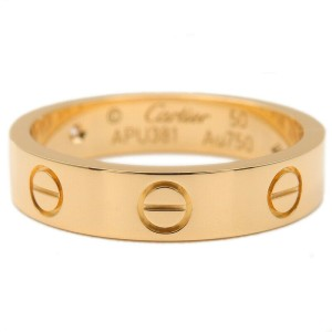 Authentic Cartier Mini Love Ring 1P Diamond K18 Yellow Gold #50 US5.5 Used F/S