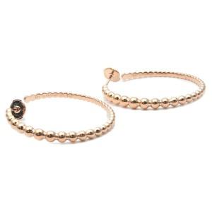 Authentic Van Cleef & Arpels Perlée Hoop Earrings Medium K18 Rose Gold Used F/S