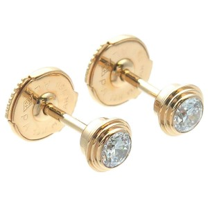 Auth Cartier Diamants Légers Earrings MM Diamond 0.13ct×2 Yellow Gold Used F/S