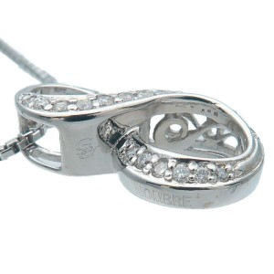"""Authentic NOMBRE ALPHA Number """"8"""" Diamond Necklace 0.19ct White Gold Used F/S"""