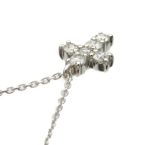 Authentic VENDOME AOYAMA Cross Diamond Necklace 0.30ct Platinum Used F/S