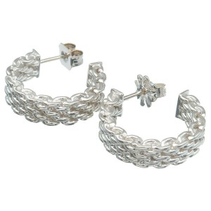 Authentic Tiffany&Co. Somerset Hoop Earrings SV925 Silver Used F/S