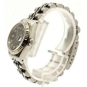 ROLEX Oyster Perpetual Datejust Steel 26mm BLACK Meteorite Diamonds Dial Watch