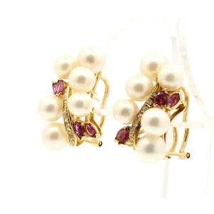 FINE ESTATE 14K YELLOW GOLD PEARL DIAMOND EARRINGS 11 GRAMS