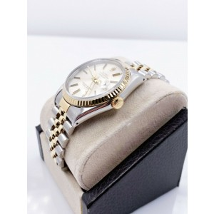 Rolex Datejust 16233 Silver Dial 18K Yellow Gold Stainless Steel