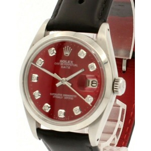 Mens Vintage ROLEX Oyster Perpetual Date 34mm Shiny RED Dial Diamond Steel Watch