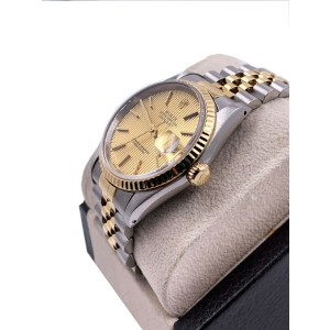 Rolex Datejust 16233 Champagne Tapestry Dial 18K Yellow Gold Stainless Steel