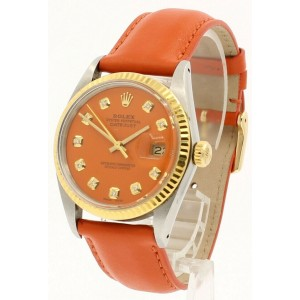 Mens Vintage ROLEX Oyster Perpetual Datejust 36mm ORANGE Diamond Dial Watch