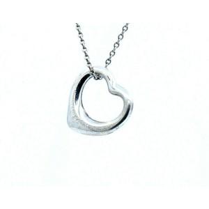 """Tiffany & Co. Sterling Silver Elsa Peretti Open Heart Pendant & Chain 18"""""""