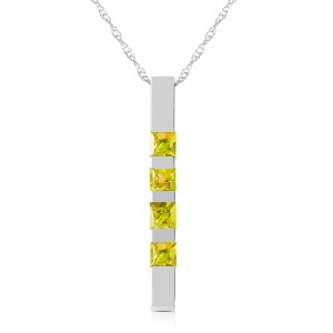 0.35 CTW 14K Solid White Gold Necklace Bar Natural Peridot
