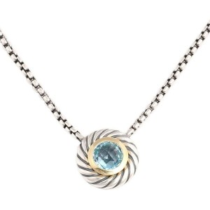 David Yurman Blue Topaz Cookie Pendant Necklace Sterling Silver 18kt Yellow Gold