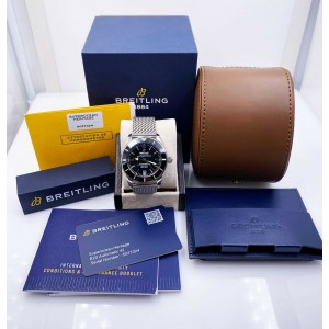 Breitling Superocean Black Dial AB2010 Stainless Steel Box Papers