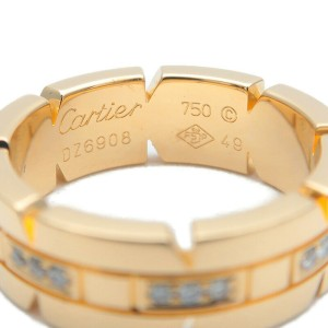 Authentic Cartier Tank Francaise Half Diamond Ring Yellow Gold #49 US5 Used F/S