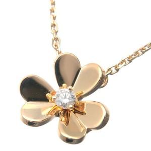 Auth Van Cleef & Arpels Frivole Mini 1P Diamond Necklace Yellow Gold Used F/S