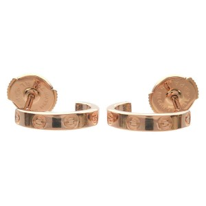 Authentic Cartier Mini Love Earrings K18 PG 750 Rose Gold Used F/S