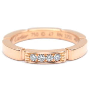 Auth Cartier maillon panthère 4P Diamond Ring Rose Gold #47 US4-4.5 Used F/S