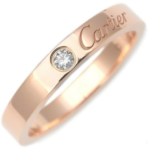 Authentic Cartier Engraved 1P Diamond Ring K18 Rose Gold #52 US6 EU52 Used F/S