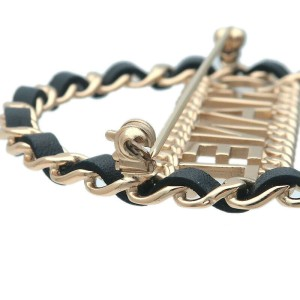 Auth CHANEL Leather Chain Charm Logo Brooch Black Champagne Gold B18K Used F/S
